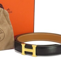Auth HERMES H Buckle Belt Size:70 Leather Gold-tone Black Brown 18578531