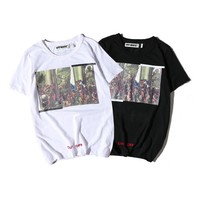 OFF WHITE Short Sleeve Summer Couple Round-neck Cotton T-shirts [11501029260]