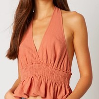 Cotton Candy LA - V-Neck Halter Top in Terracotta