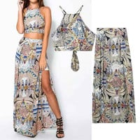 Women's Fashion Backless Wrap Spaghetti Strap Split Skirt Set [5013145860]