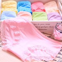 Fashion bamboo charcoal fiber underwear women Modal panties solid color lace shorts briefs comfortable breathable girls panties