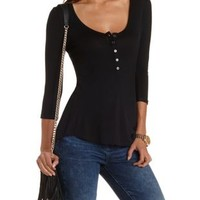 Scoop Neck Henley Tee by Charlotte Russe