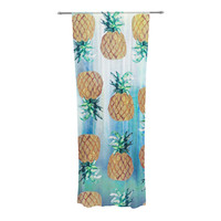 "Nikki Strange ""Pineapple Beach"" Blue Brown Decorative Sheer Curtain"