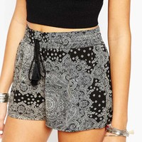 ASOS Co-ord Shorts in Mono Festival Paisley Print