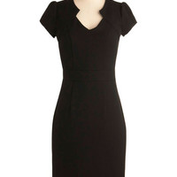 ModCloth Vintage Inspired Long Short Sleeves Shift Work the Right Angle Dress