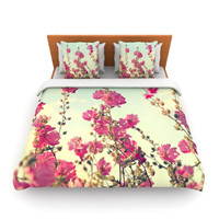 "Sylvia Cook ""Pink Lavatera"" Flowers Sky Lightweight Duvet Cover"