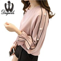 Plus size Chiffon shirt female  Blusa Beaded Tops Autumn long-sleeved Solid color Women blouse Women clothing