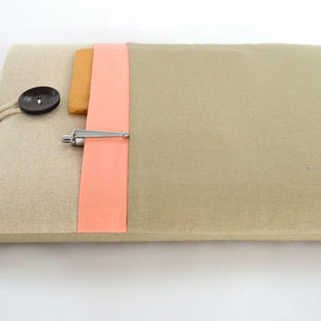 """Laptop Case 11"""", 13"""", 15"""" Laptop Sleeve Case Padded with Pocket - Linen and Peach"""