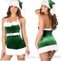 Hot Sale Cosplay Christmas Party Dress Women Gift Sexy Skirt Christmas Hat Hollween Ladies Dress Santa Claus Costumes Free Size