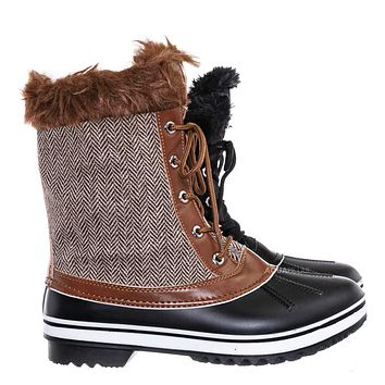 Value6 Faux Fur Duck Boots - Quilted & Tweed Snow Rain Shoe