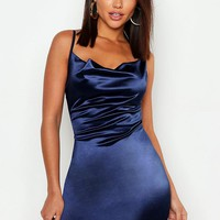 Satin Cowl Front Bodycon Dress | Boohoo