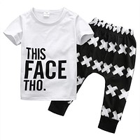 Summer Baby Boy Clothing 2pcs Casual T-shirt Tops + Harem Clothes Sets Toddler Letter White Cotton Pants Clothes Boys 0-5Y
