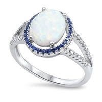.925 Oval White Opal Blue Sapphire CZ Ring