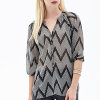 FOREVER 21 Spotted Zigzag Chiffon Top Black/Cream