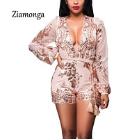 Ziamonga Elegant Women Jumpsuit Sexy Bodysuit Women Sequin Rompers Womens Jumpsuit 2017 Fashion Playsuit Long Sleeve Overalls