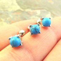 Turquoise Stud Cartilage Earring Tragus Helix Piercing 5mm