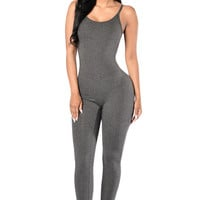 Gray Spaghetti Straps Simple Stretch Jumpsuit