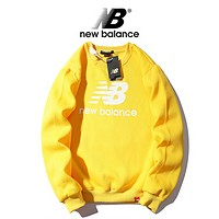 New Balance Autumn And Winter New Fashion Bust Letter Print Leisure Women Men Hooded Long Sleeve Sweater Top Yellow