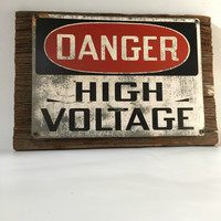 Man Cave Sign, Reclaimed Wood Sign, Vintage High Voltage Sign, Man Cave Wall Decor, Reclaimed Wood, Man Cave Wall Art, Industrial Sign