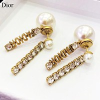Dior Fashion new letter pearl diamond long earring women accessory Golden