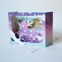Pink Crane Pop Up Card Holiday