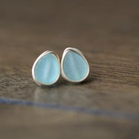 Druzy Teardrop Studs - Sea Glass
