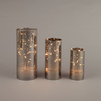 3 Smoke Glass Hurricane Fairy Lights