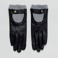 ASOS Leather Glove With Rib Cuff at asos.com