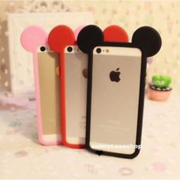 Cute cartoon disney mickey mouse Silicone bumper case Cover for iphone6 plus 5S