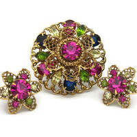 Vintage Colorful Rhinestone Gold Tone Filigree Floral Brooch Clip On Earring Set Demi Parure Jewel Tones Multicolored Flower Prong Set Glass