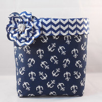 Navy And White Anchor Themed Fabric Basket With Detachable Fabric Flower Pin For Storage Or Gift Giving