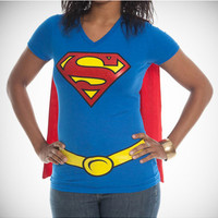 Superman V-neck Junior Fitted Tee with Cape