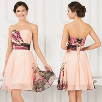 Summer Sweetheart Flower Pattern Vintage Prom Evening Dresses Formal Party Gowns Short Dress