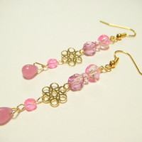 Pink earrings with filigree, pink dangle earrings with filigree, kawaii earrings, gift for her, gift under 10, handmade jewelry.