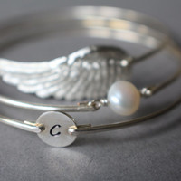 Silver Personalized Angel Wing, Freshwater Pearl, and Initial Bracelet set, Silver Bracelet, Bangle Bracelet, Hand Stamped, Silver Jewelry