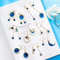 Trendy Sweet Girl Japanese Blue Star Moon Asymmetry Geometry Long Earrings Dangle Earrings for Fashion Women Jewelry Accessories