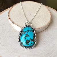 Bold Turquoise Statement Pendant in .925 Sterling Silver with Patina Details and Silver Rolo Chain, Genuine Turquoise Necklace, Handmade