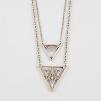 Full Tilt 2 Row Geo Cutout Triangle Necklace Gold One Size For Women 24485862101