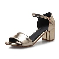 Women Sandals Ankle Straps Pumps Thick High-heeled Shoes