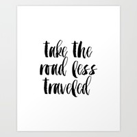 "Typographic Travel Quote Print World Map Poster ""Take the Road Less Traveled""  Art Print by MichelTypography"