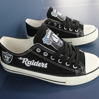 2016 Oakland Raiders Sneakers Fashionable Canvas Tennis Shoes FREE SHIPPING