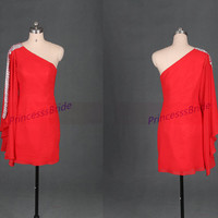 2014 short red chiffon homecoming dress hot,cheap one shoulder prom dresses with rhinestones,simple chic women gowns for holiday party.