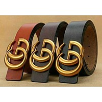GUCCI Woman Men Fashion Trending Smooth Buckle Belt Leather Belt High Quality Brown