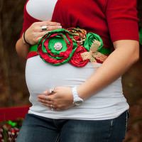 Christmas maternity sash, newborn Christmas prop, mommy to be, pregnancy pictures, baby shower, flower sash, Christmas wedding, flower girl