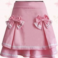 Short Pink Cotton Sweet Lolita Skirt With Double-Layer Bow