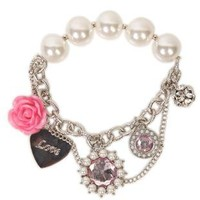 plus size pearl bracelet with hanging pearl, heart and flower charms - 1000046682 - debshops.com