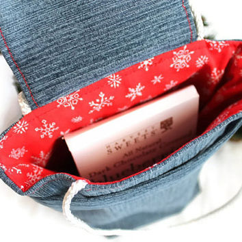 Snowflakes Gift Bag Christmas Reusable Small Denim Holiday Red White Upcycled Denim Gift Wrap Alternative Fabric--US Shipping Included