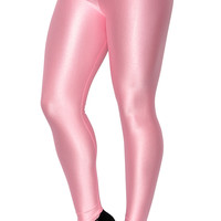 BadAssLeggings Women's Shiny Candy Neon Leggings Small Light Pink