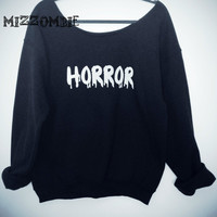 HORROR  sweater, Off The Shoulder, Over sized, loose fitting, grunge