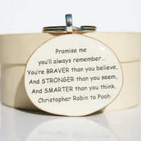 Inspirational key chain graduation gift going away gift winnie the pooh quote love key chain key charm nature gift eco friendly